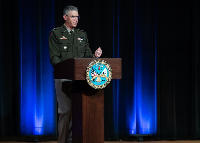 Army Vice Chief of Staff Gen. Joseph M. Martin speaks before presenting the Gen. Douglas MacArthur Leadership Awards at the Pentagon, Oct. 5, 2021. The awards have been given annually to the Army's top company-grade officers since 1988.