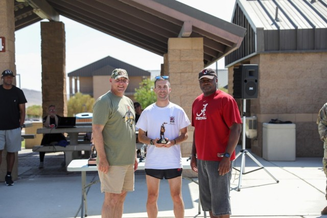Full Marathon 1st Place finisher for male, Capt. Evan Cain  The 11th Armored Cavalry Regiment reignited the tradition of the Blackhorse Marathon that began in the late 1970s in Fulda, Germany. The race started as an opportunity to bring the Regiment's Troopers and the community together. It is understood that Major General Sunell, the 48th Regimental Commanding Officer, is responsible for the institution of the Blackhorse Marathon. Our organization continues this tradition today in memory of him.