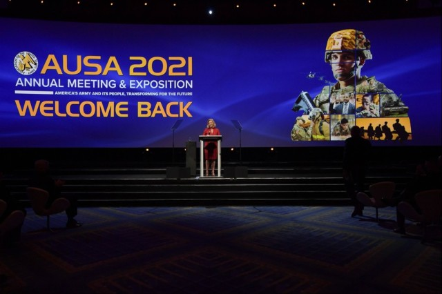 Secretary of the Army Christine E. Wormuth gives the keynote address to start the Association of the U.S. Army Annual Meeting and Exposition in Washington, D.C., Oct. 11, 2021.