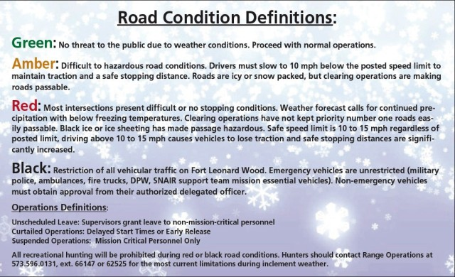 Road conditions on Fort Leonard Wood are broken down by color-coded definitions to quickly tell drivers what to expect as the weather changes.