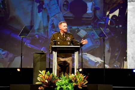 Gen. James C. McConville, the Army's chief of staff, speaks at the Association of the U.S. Army Annual Meeting and Exposition in Washington, D.C., Oct. 12, 2021.