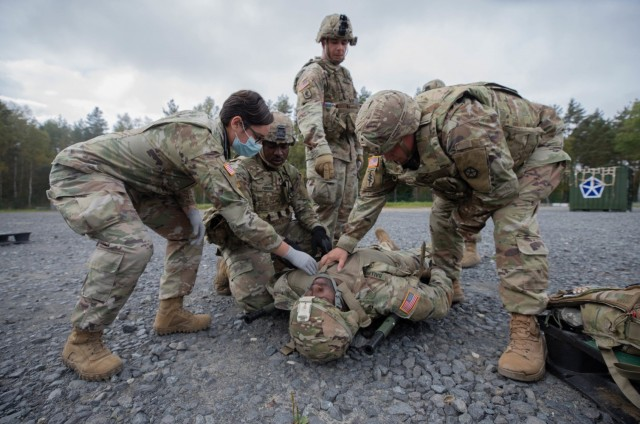 GRAFENWOEHR, Germany – Soldiers from V Corps participated in a mass casualty training event as part of the Warfighter exercise 22-1 at the main command post at Grafenwoehr, Germany. The WFX 22-1 is V Corps' final certifying exercise in becoming the U.S. Army's fourth corps headquarters and America's forward deployed corps in Europe. (U.S. Army photos by Pfc. Devin Klecan/released)