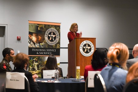 Army Secretary Christine E. Wormuth speaks during an Army Women's Foundation leadership symposium during the Association of the U.S. Army Annual Meeting and Exposition in Washington, D.C., Oct. 11, 2021.