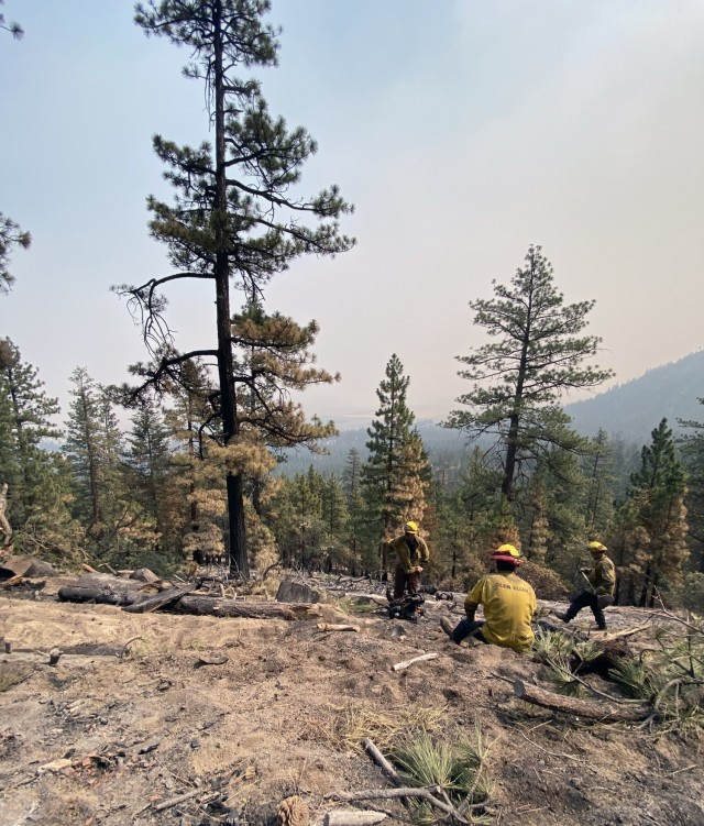 Sierra Army Depot firefighters dig fire break lines while providing support to local efforts to combat the Dixie Fire, July 2021, in northern California. The Sierra Army Depot fire department was named as the U.S. Army Materiel Command Fire Department of the Year for 2020, partially due to its support to local authorities in combating wildfires during the 2020 wildfire season.