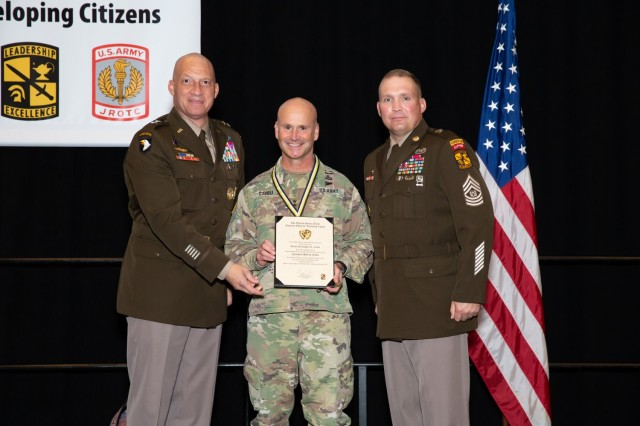 Gen. Christopher Cavoli, an Army ROTC alumnus of Princeton University, is awarded for his years of service to Army ROTC at the 2021 AUSA Conference in Washington, Oct. 11, 2021. Cavoli was honored as a 2021 Army ROTC Hall of Fame inductee. | Photo by Kyle Crawford, USACC Public Affairs