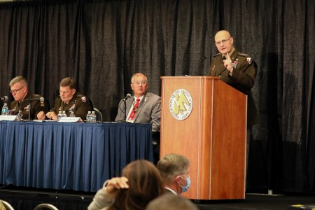 Gen. Ed Daly, Army Materiel Command commanding general, gives opening remarks at a Contemporary Military Forum at the U.S. Army's 2021 Annual Meeting and Exposition, Oct. 12.