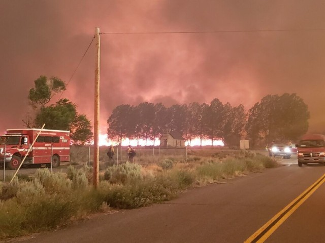 Sierra Army Depot firefighters provide support to local efforts to combat the Beckwourth Fire, July 2021. The Sierra Army Depot fire department was recognized as the U.S. Army Materiel Command Fire Department of the Year, partially for its efforts during the wildfire season of 2020.