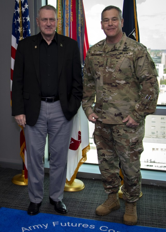 Gen. John M. Murray, Commander, Army Futures Command, visits with Gen. James H. Dickinson, Commander, U.S. Space Command, on April 5, 2021 in Austin, Texas. (U.S. Army Photo by Mr. Luke J. Allen)